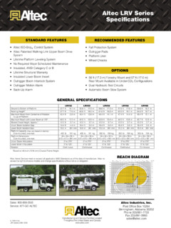 Altec LRV55 Specifications CraneMarket