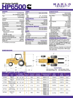 Harlo Products HP6500 Specifications CraneMarket
